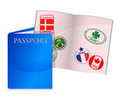 Open worn US passport — Stock Photo