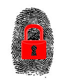 Finger Print with closed, red u-lock — Stock Photo
