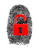 Finger Print with unlocked, red u-lock — Stockfoto