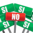Yes and No signs in Spanish — Stock Photo