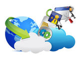 Cloud of colorful application icons — Stock Photo