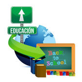 Education globe concept spanish design — Stock Photo