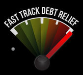 Fast track debt relief speedometer — Stock Photo