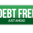 Debt free green traffic road sign — Stock Photo