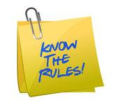 Conoscere le regole scritte su un post nota — Foto Stock