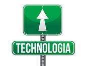 Technology in Spanish traffic road sign — Stock Photo