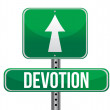 Stock Photo: Devotion traffic road sign