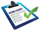 Checklist for internet security on a clipboard — Stock Photo