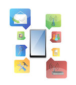 Tablet with icons — Stock Photo