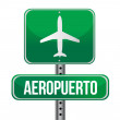 Road sign shows direction of a nearby airport — Stock Photo