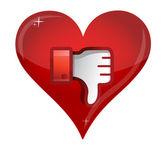 Ícone de desgosto de amor. polegar para baixo sinal — Fotografia Stock