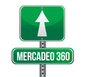 Marketing 360 in Spanish road sign — Foto de Stock