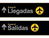 Sinais de aeroporto de chegada e partida em espanhol — Foto Stock