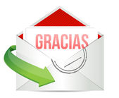 Thank You gratitude card envelope in spanish — Foto de Stock