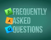 FAQ writing with white chalk on blackboard — Stockfoto