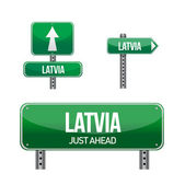 Latvia Country road sign — Stock Photo