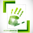 Biometric palm scanning screen with access granted — Stock Photo