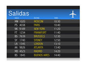 Airport time Departure table in spanish — Stock Photo