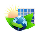 Renewal energy globe solar panel concept — Stock Photo