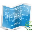 Approved blueprint project - Stock Photo