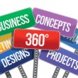 Stock Photo: 360 business concepts. color signs