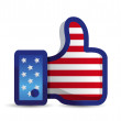 USA united States thumb up like hand — Stock Photo