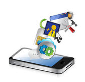 Yalıtılmış bir uygulama renkli simgeler telefon — Stok fotoğraf