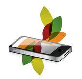 花柄のデザインのスマート フォンのモバイル — ストック写真