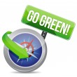 Go green on a compass — Stock Photo #21912845