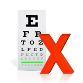 Medical Eye Chart with a x mark. poor vision — Stock Photo