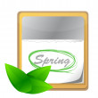 Calendar with spring page and green leaf — Stock Photo