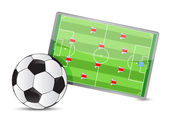 Soccer field tactic table, soccer balls — Stock Photo