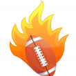 Football Ball in fire - Stock Photo