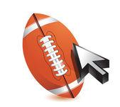Football ball with cursor arrow - sport shopping — Stock Photo