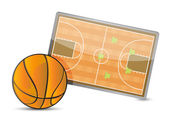 Basketball field tactic table, Basketball balls — Stock Photo