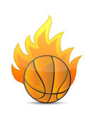 Basketball Ball in fire — Stock Photo