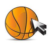 Basketball ball mit cursor-pfeil - sport einkaufen — Stockfoto
