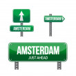 Amsterdam city road sign — Stock Photo