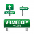 Stock Photo: Atlantic city city road sign