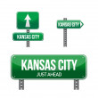 Kansas city road sign - Stock Photo