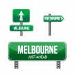 Melbourne city road sign — Stock Photo