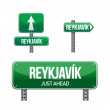 Reykjavik city road sign - Stock Photo