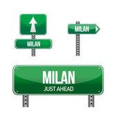 Milan city road sign — Stock Photo