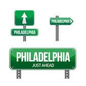 Филадельфия город дорожный знак — Стоковое фото