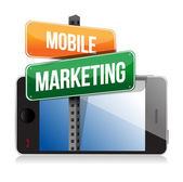 Smart phone with mobile marketing sign — Stock Photo