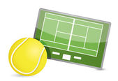 Tennis field tactic table, Tennis balls — Stock Photo