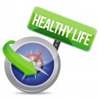 Healthy life indicated by concept compass — Stock Photo