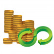 Unlimited amount of money infinity coins concept — Stock Photo