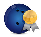 Bowling ball with award — Stock Photo