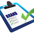 Stock Photo: Identity, Quality and Loyalty checklist clipboard